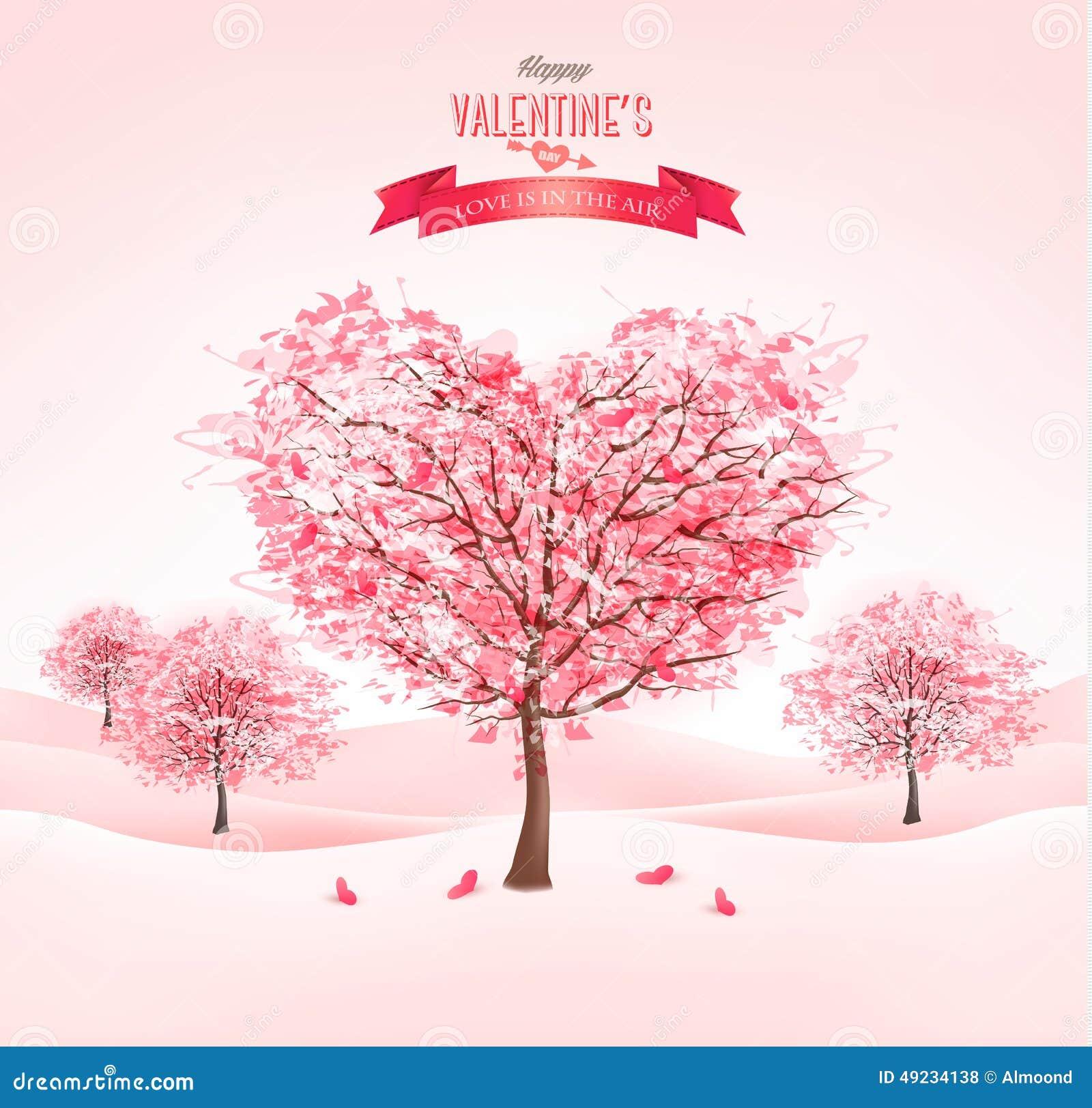 árboles En Forma De Corazón Rosados De Sakura Día De Tarjeta Del Día