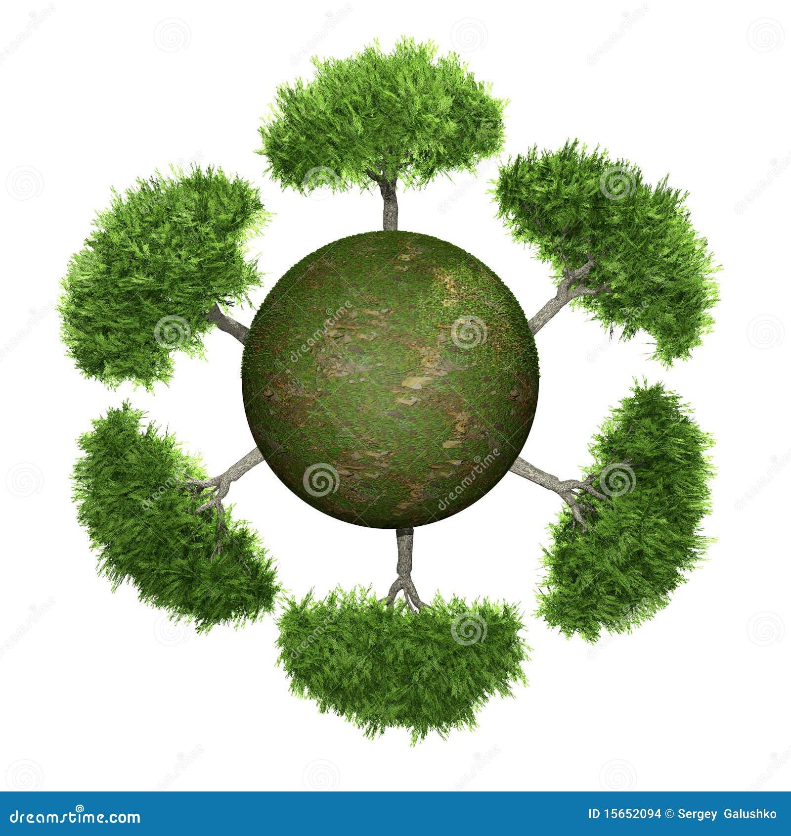 Árboles en una esfera verde
