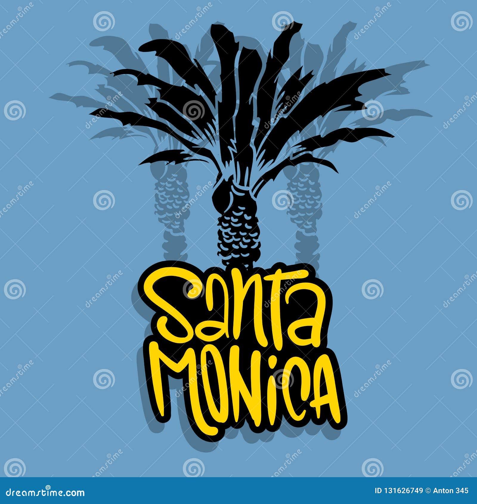 Árboles Logo Sign Label para los anuncios camiseta de la promoción o aviador Vecto de Santa Monica California Design With Palm de