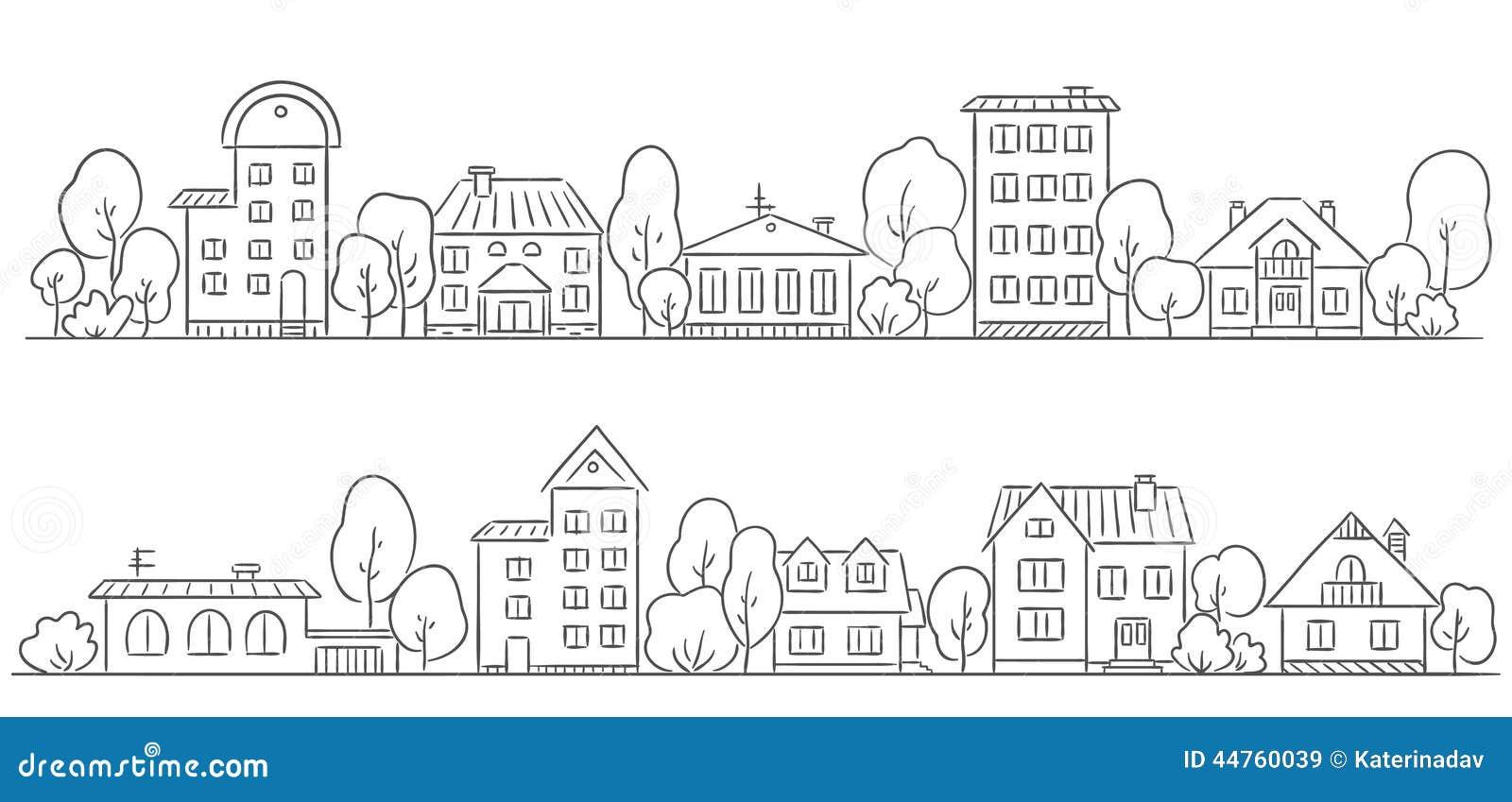 Árboles y casas en fila para su marco