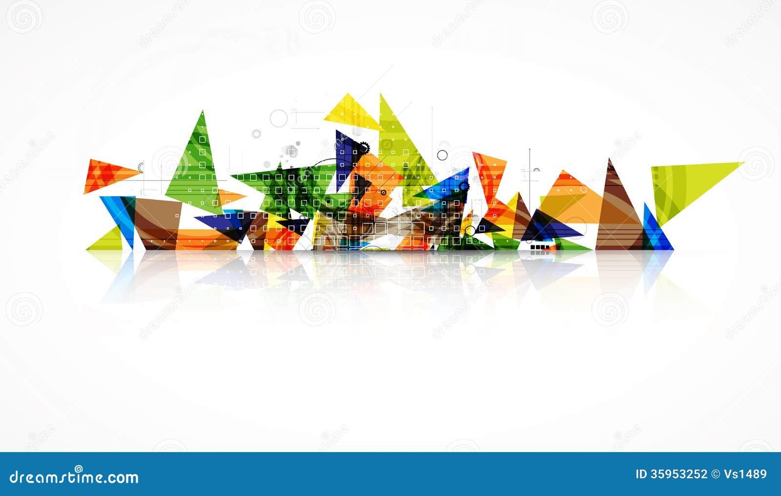 Área comercial abstracta de la tecnología de la calculadora numérica del triángulo