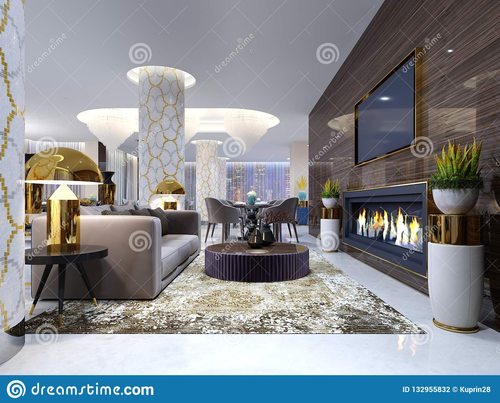 Área da sala de estar da chaminé em um hotel de luxo com um sofá macio, as poltronas e uma mesa de centro Parede de madeira com t