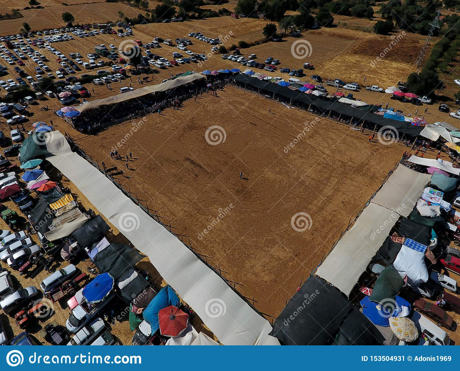 Área de lucha del festival de la tauromaquia