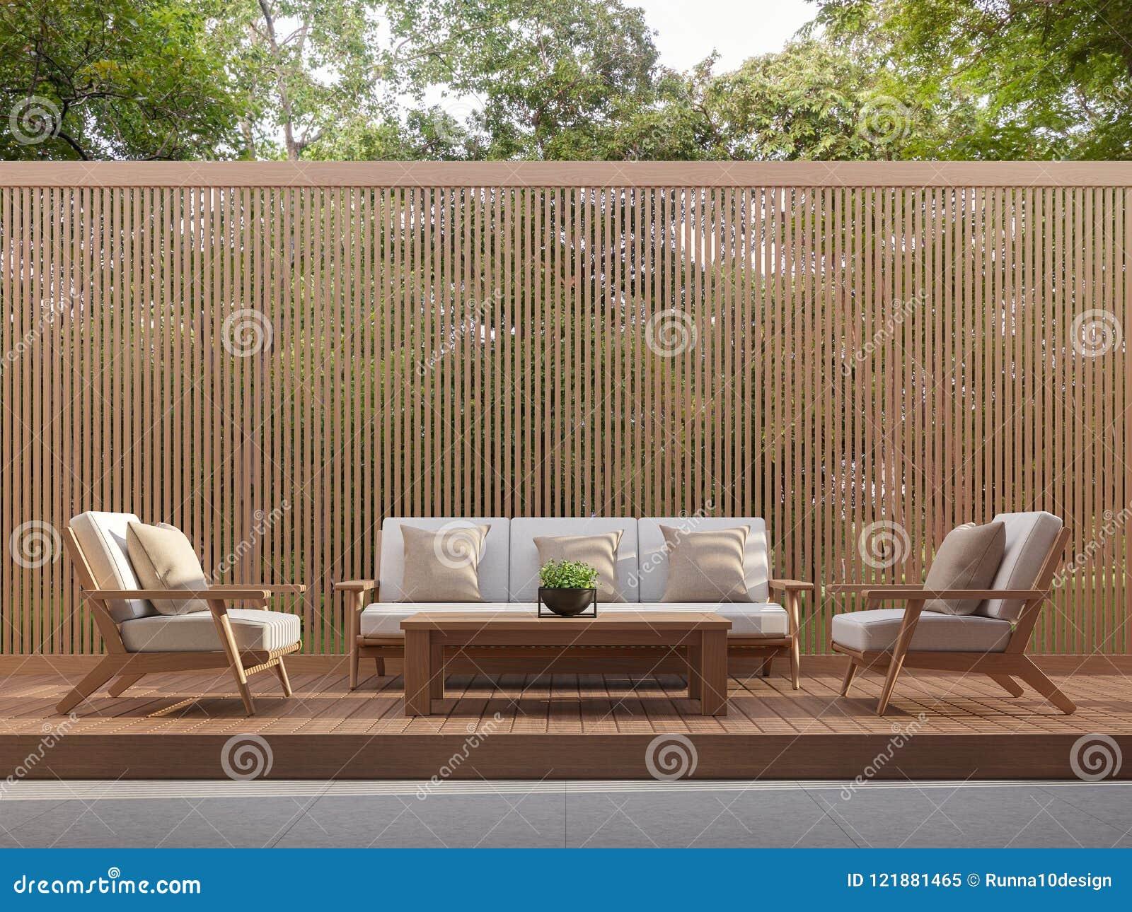 A área habitável exterior com venezianas de madeira 3d rende