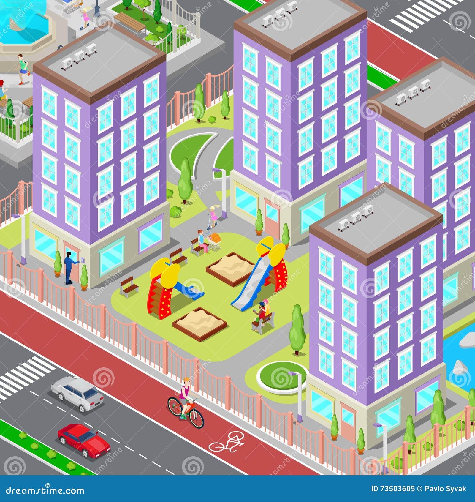 Área isométrica do dormitório do sono da cidade Jarda moderna com casas e campo de jogos Vetor
