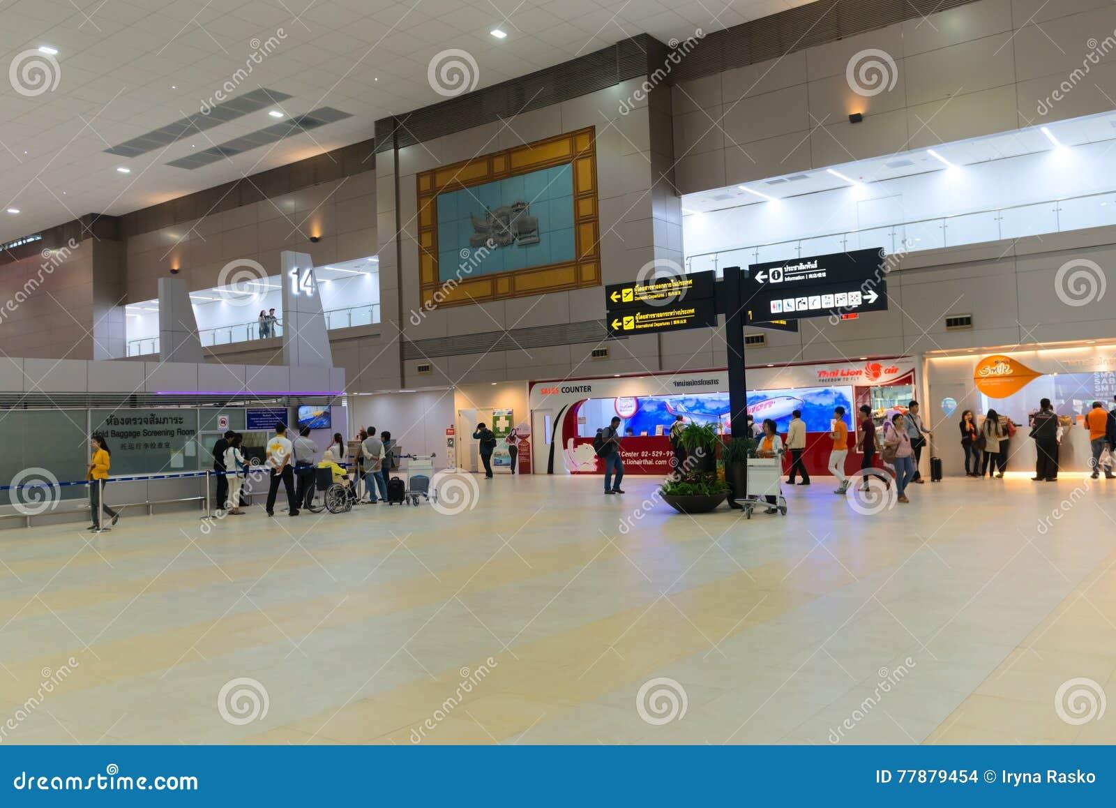 Área Nacional De Las Salidas De Don Mueang International Airport Adentro Imagen de archivo editorial