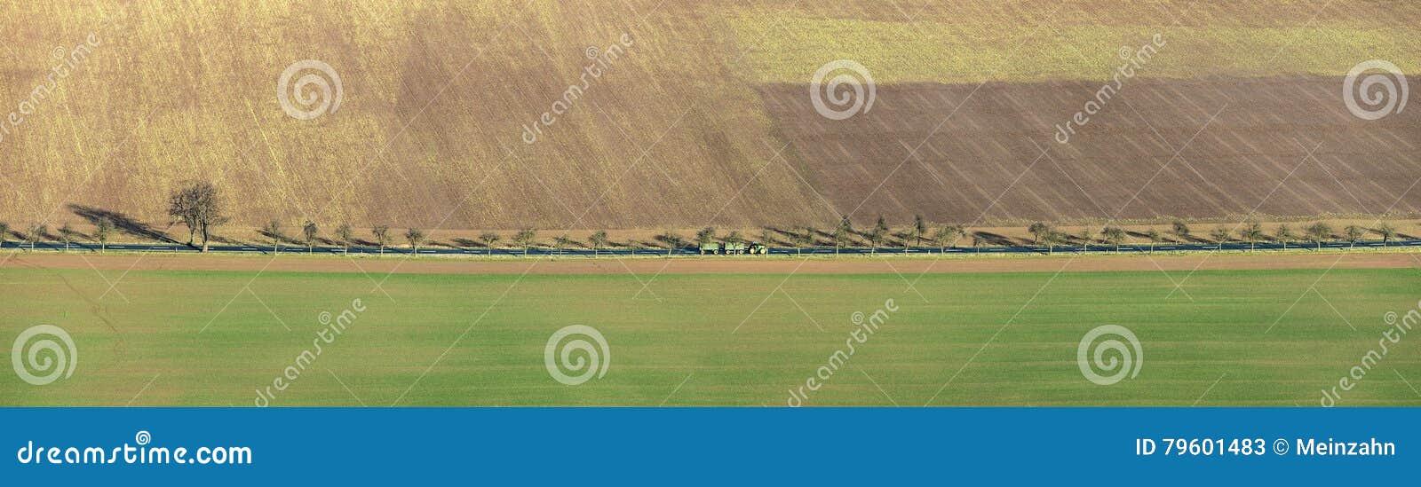 Área rural na área de Kyffhaeuser com aleia e trator