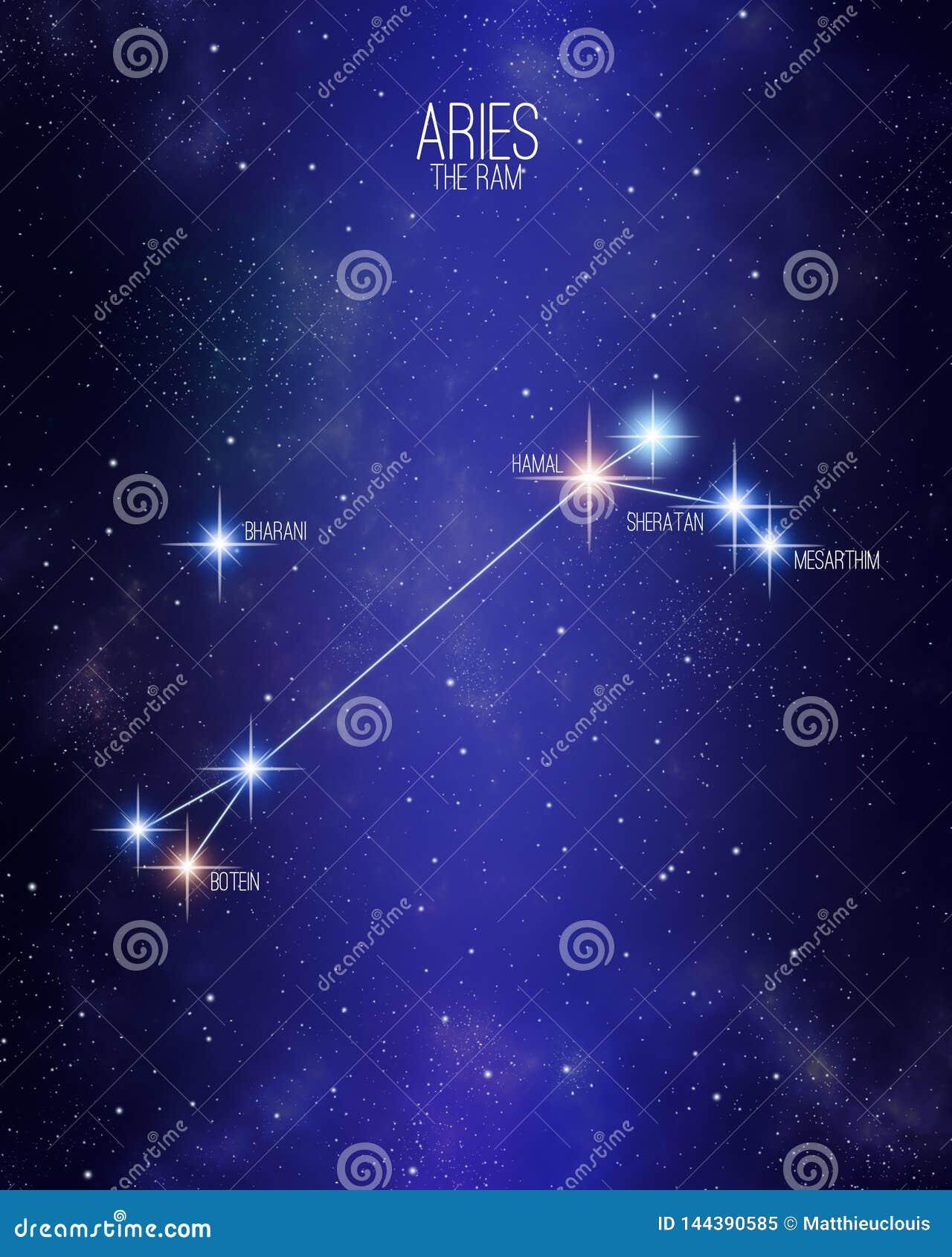 Áries o mapa da constelação do zodíaco da ram em um fundo estrelado do espaço com os nomes de suas estrelas principais Tamanhos r