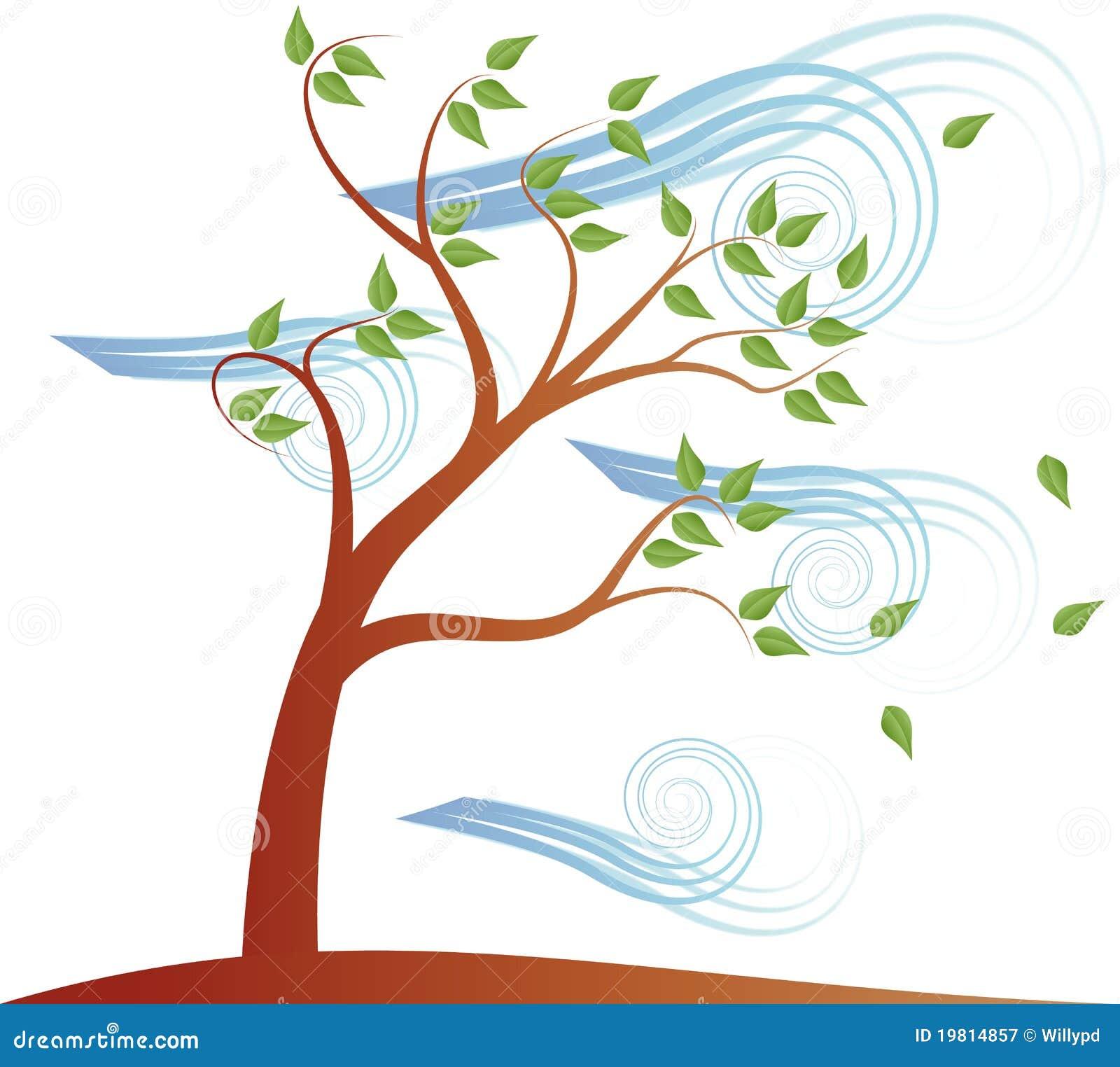Árvore com nuvem e vento do efeito