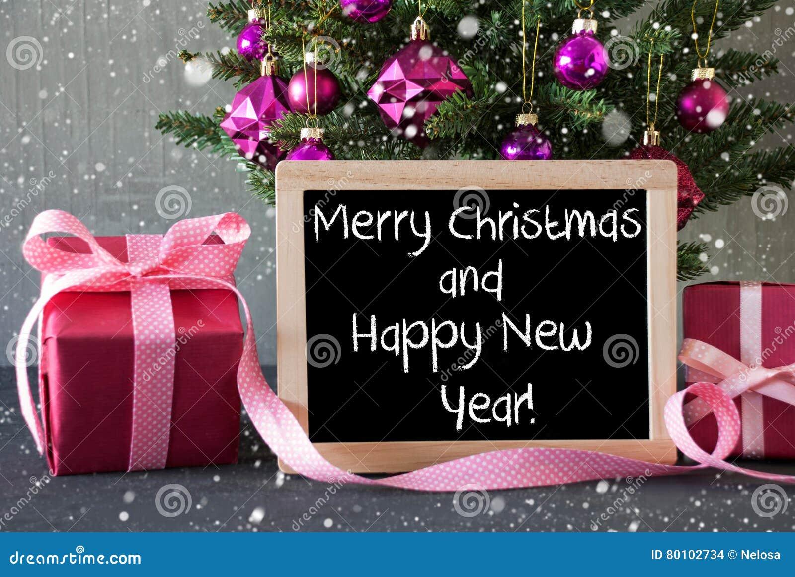 Árvore com presentes, flocos de neve, ano novo feliz do Feliz Natal do texto