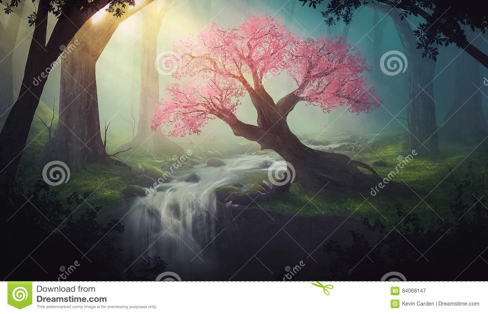 Árvore cor-de-rosa na floresta