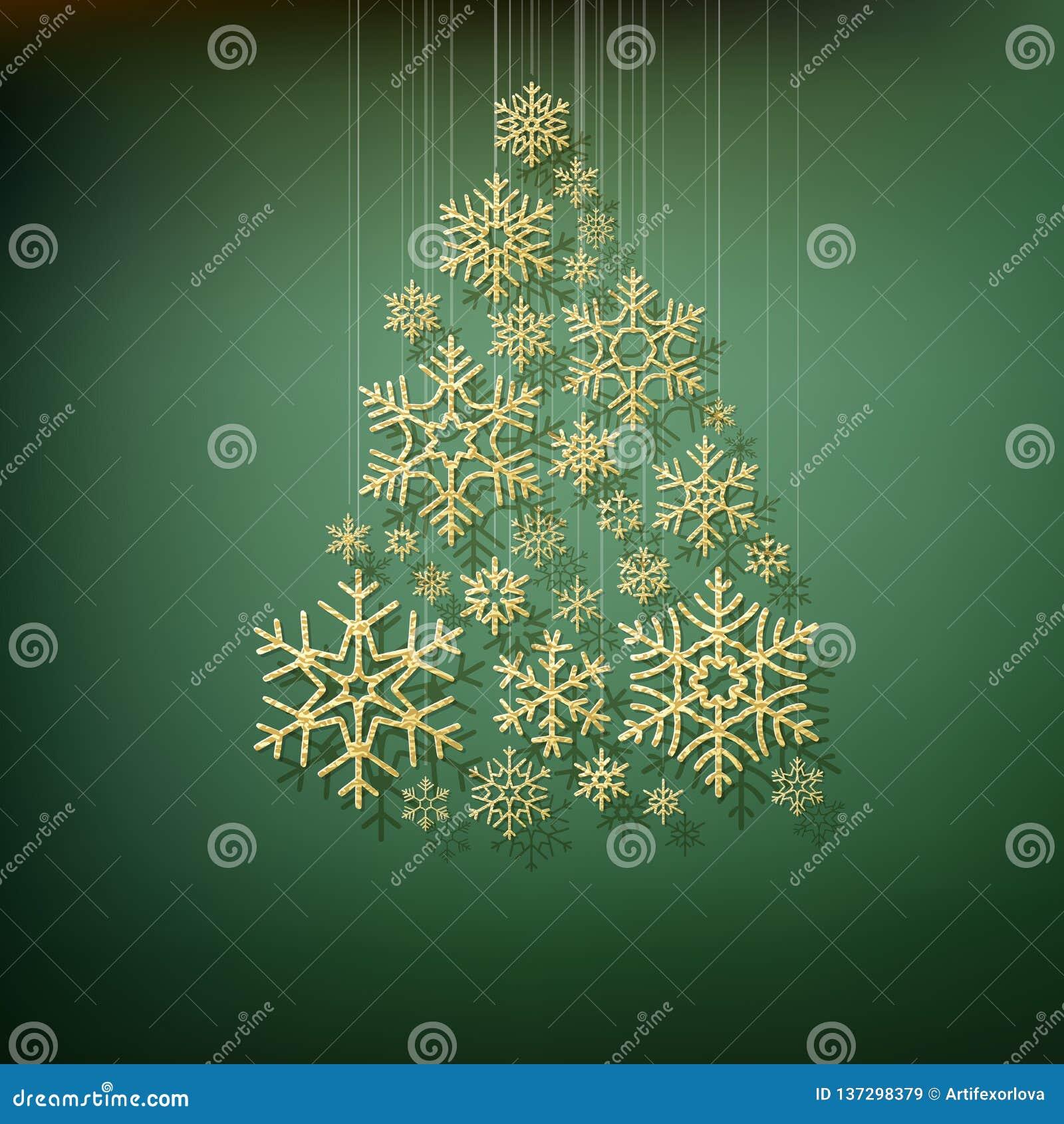 Árvore de abeto de brilho do Natal feita dos flocos de neve do ouro Molde elegante do cartão Eps 10