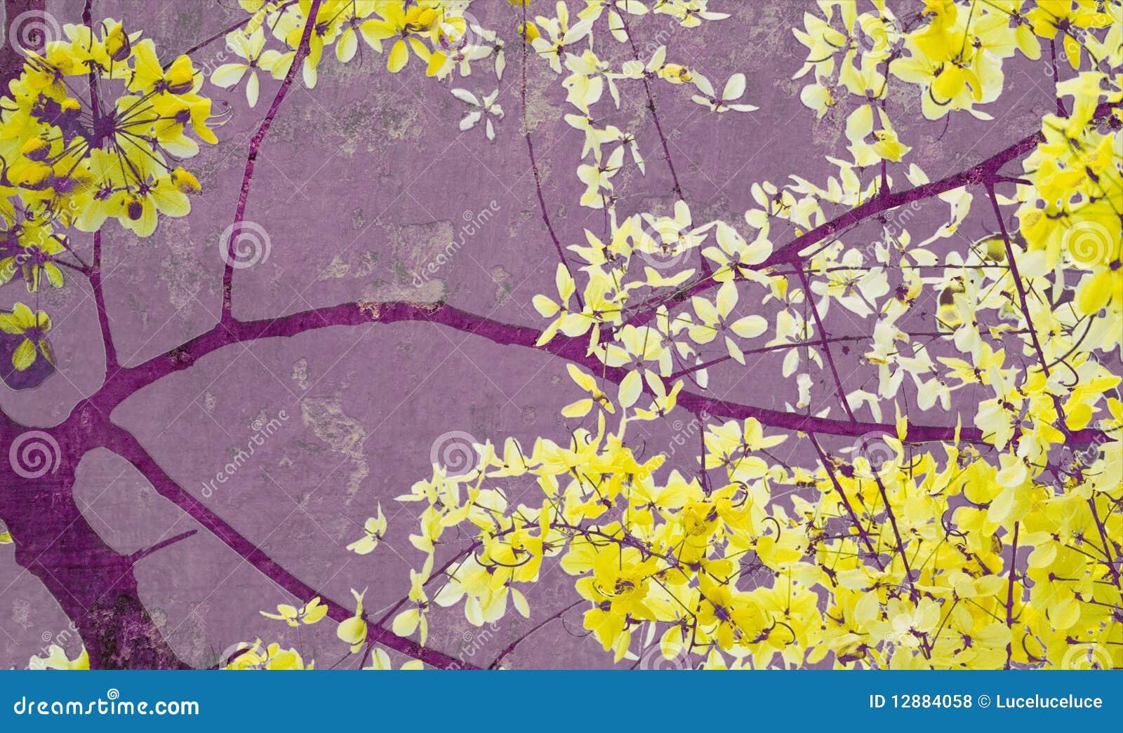 Árvore de chuveiro dourado na cópia roxa da arte da parede