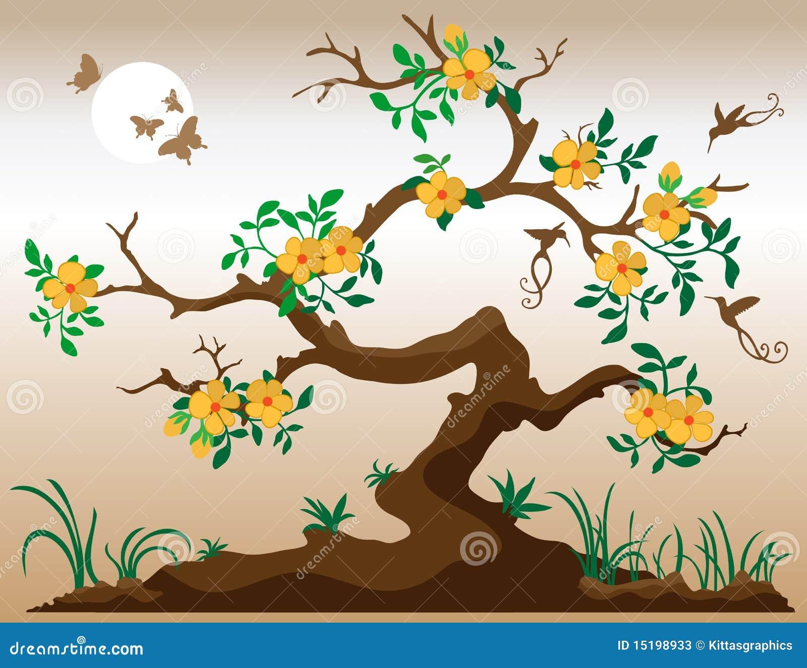Árvore de florescência com colibris