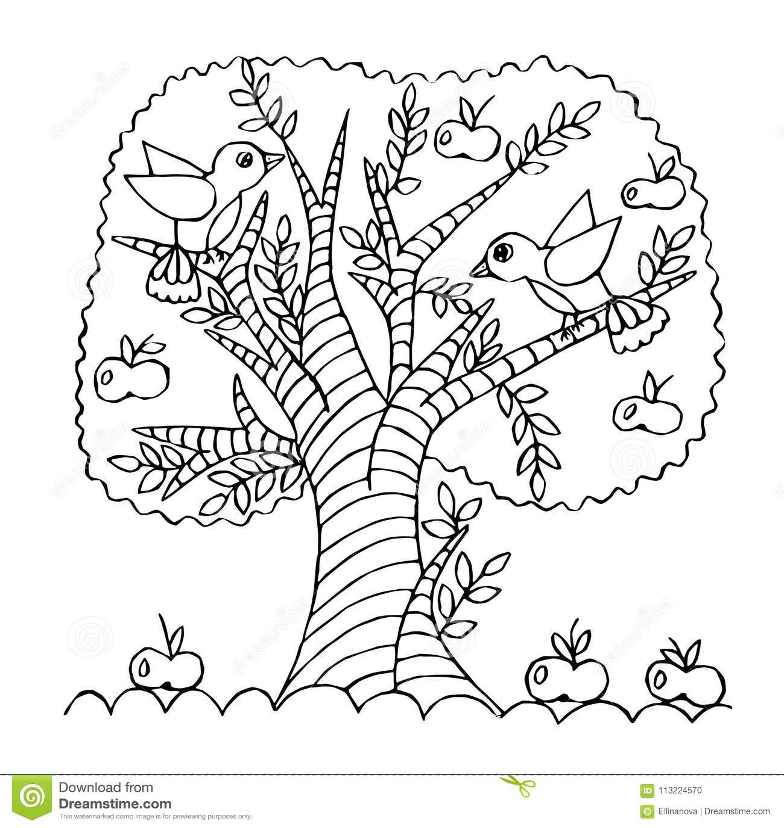 Arvore De Maca Dos Desenhos Animados Isolada No Fundo Branco
