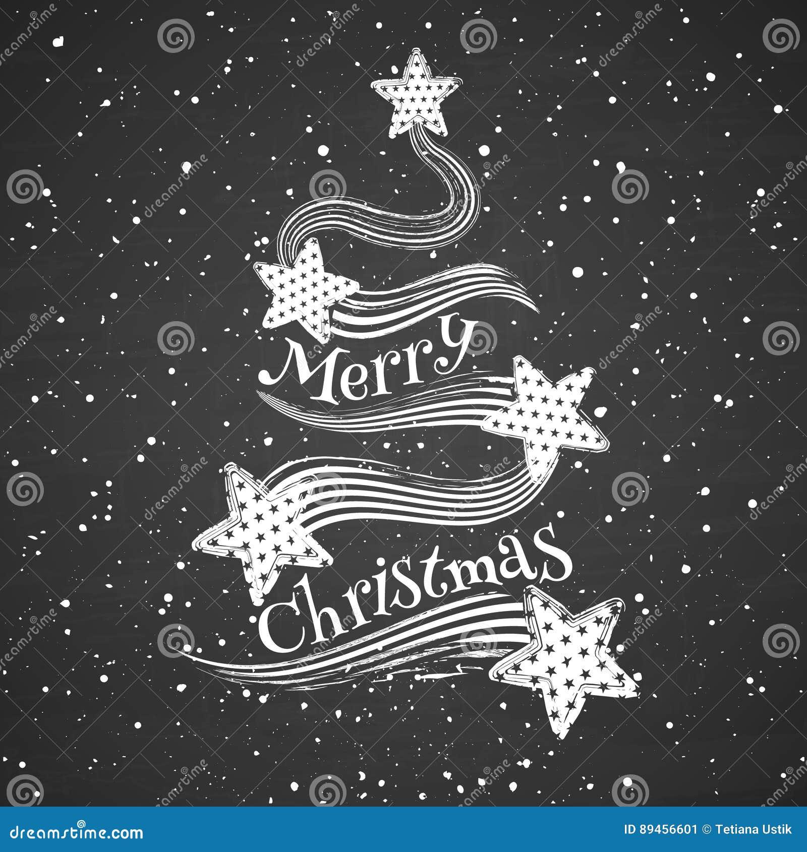 Árvore de Natal abstrata do giz no fundo do quadro-negro