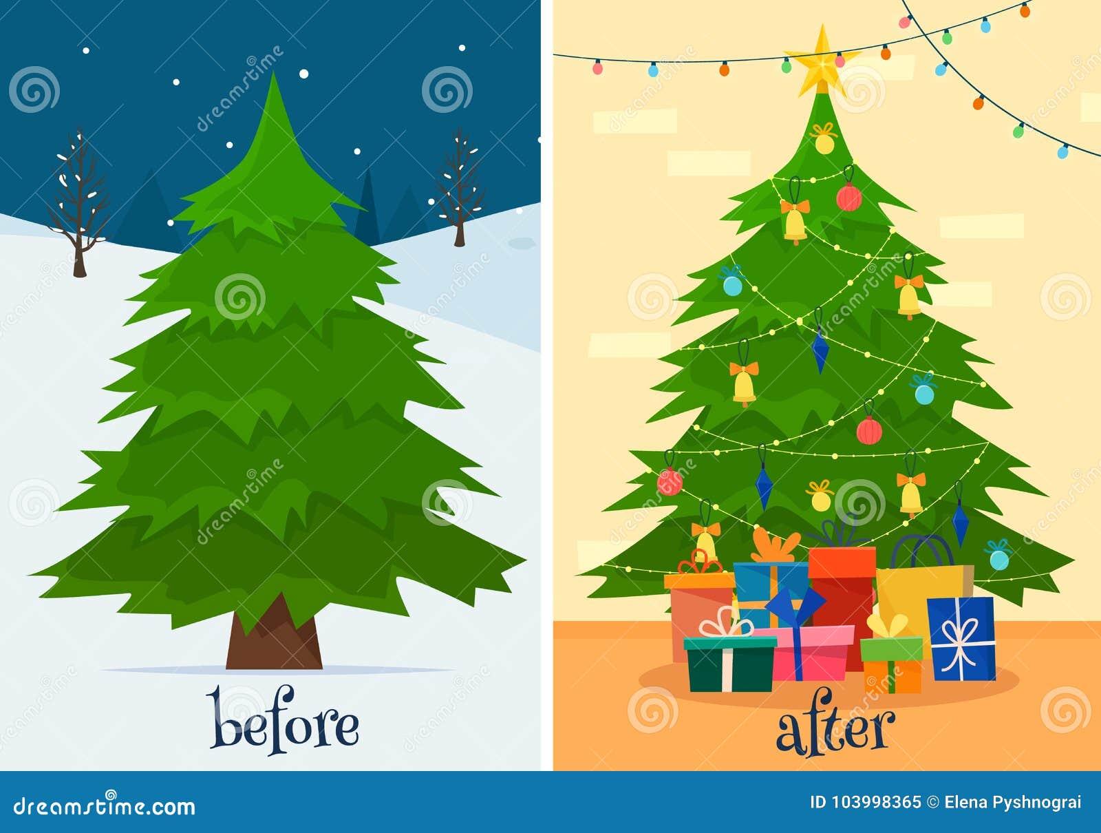 Árvore de Natal antes e depois da decoração Abeto na floresta e na sala com presentes e luzes