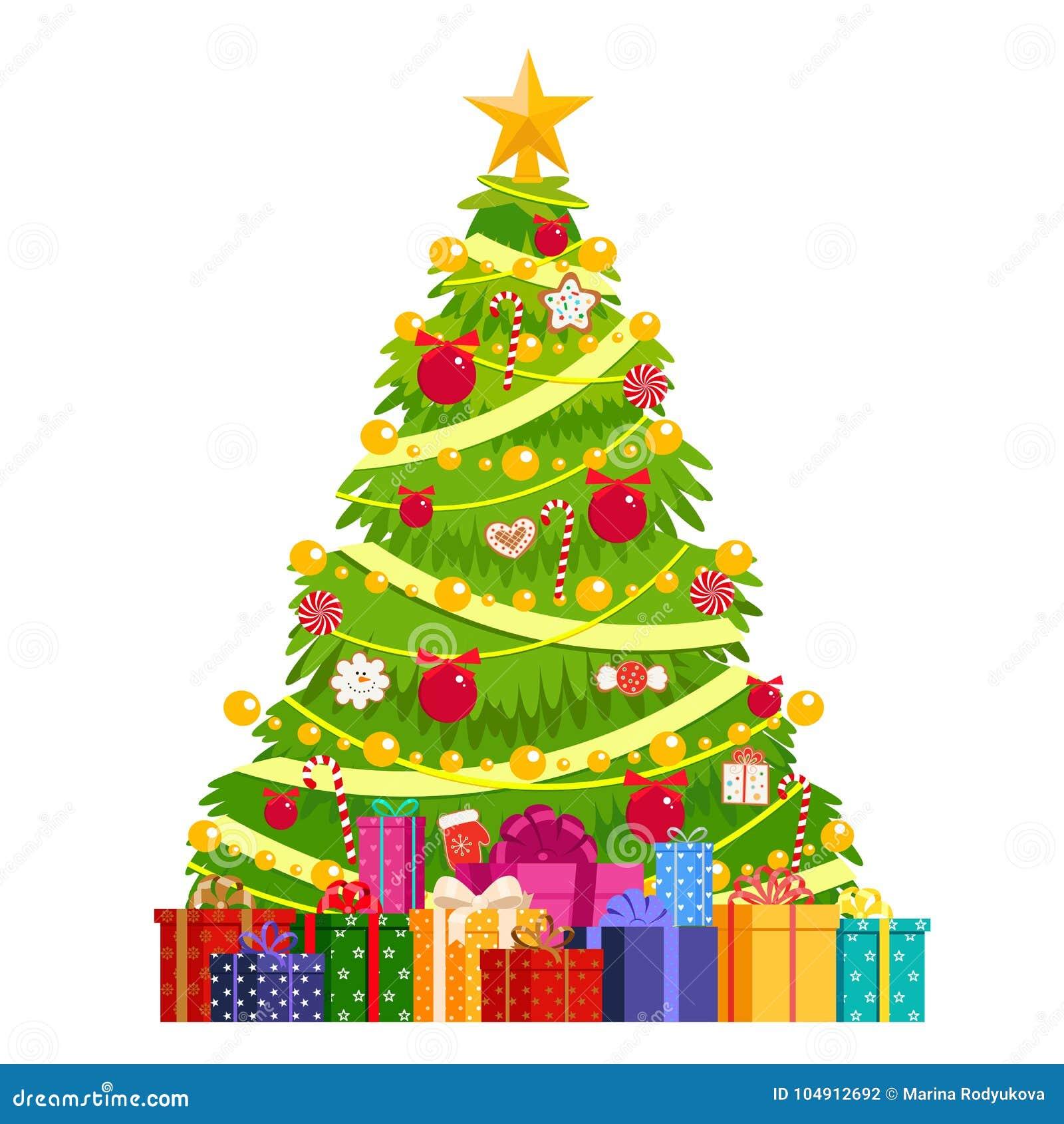 Árvore de Natal decorada com bolas, pão-de-espécie, festões Sob a árvore de Natal é uma montanha dos presentes Isolado, obje do v
