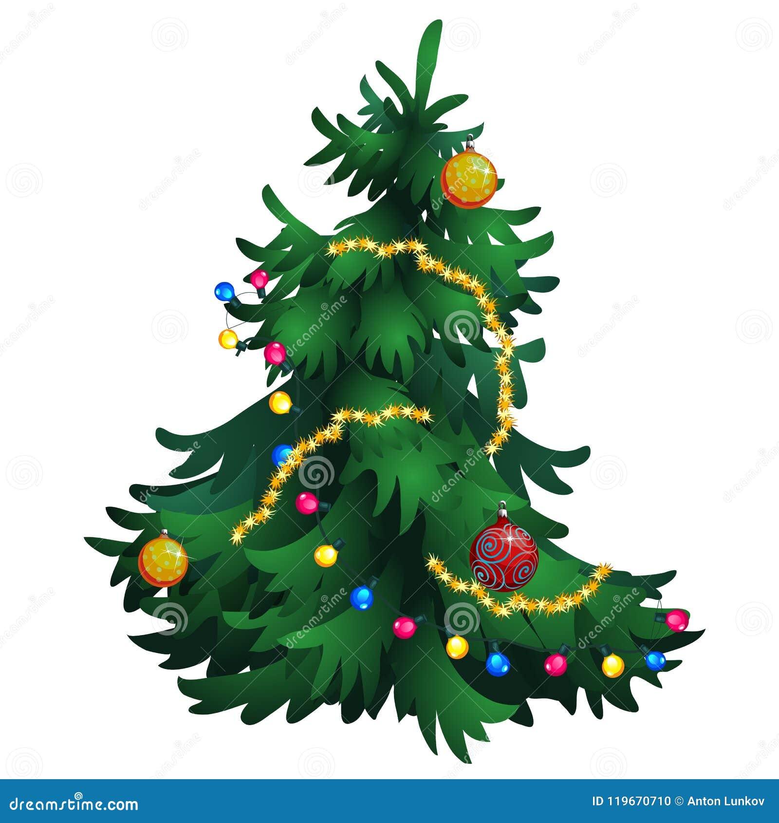 Arvore De Natal Dos Desenhos Animados Com As Decoracoes Isoladas