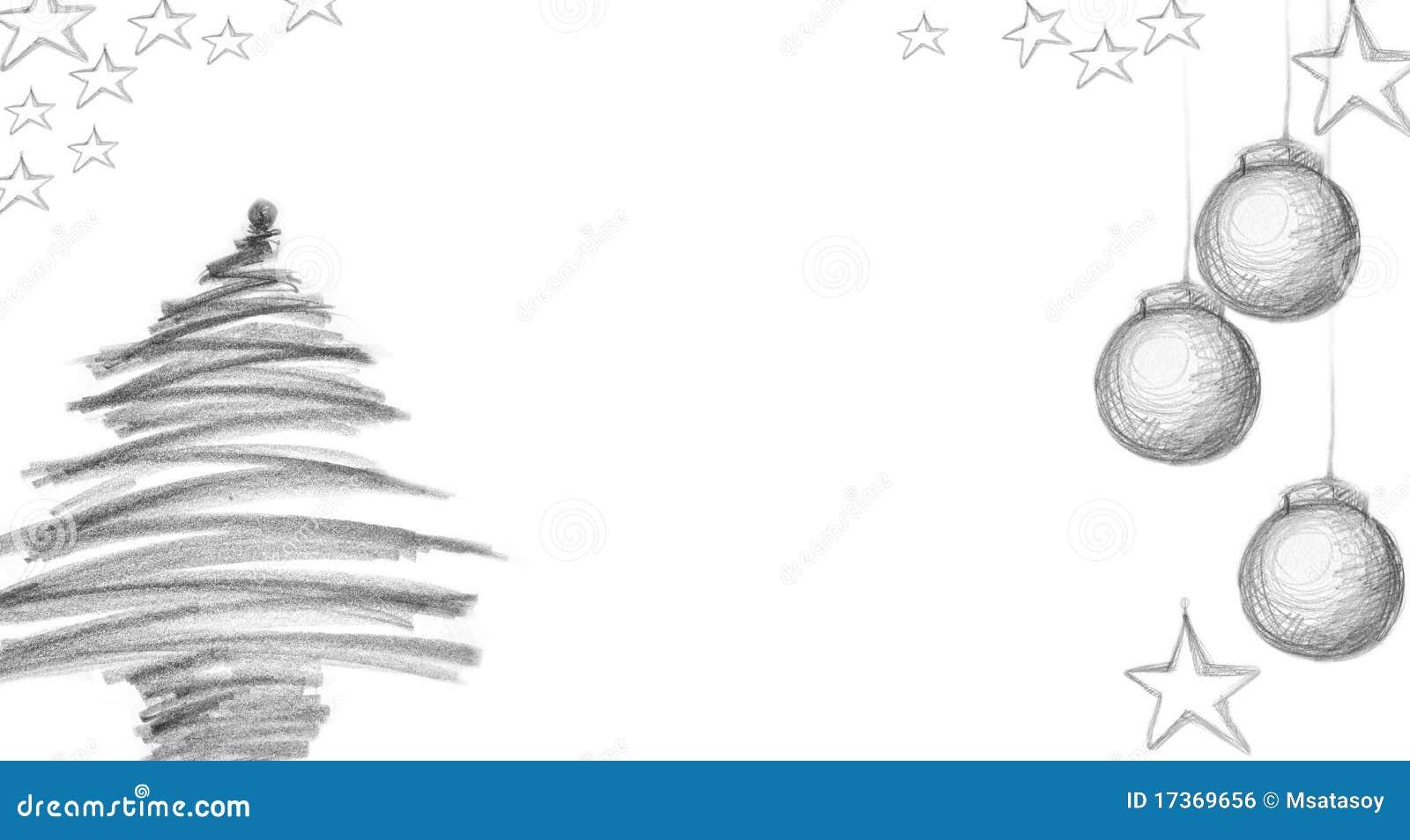 Árvore de Natal e cartões de Natal com carvão vegetal