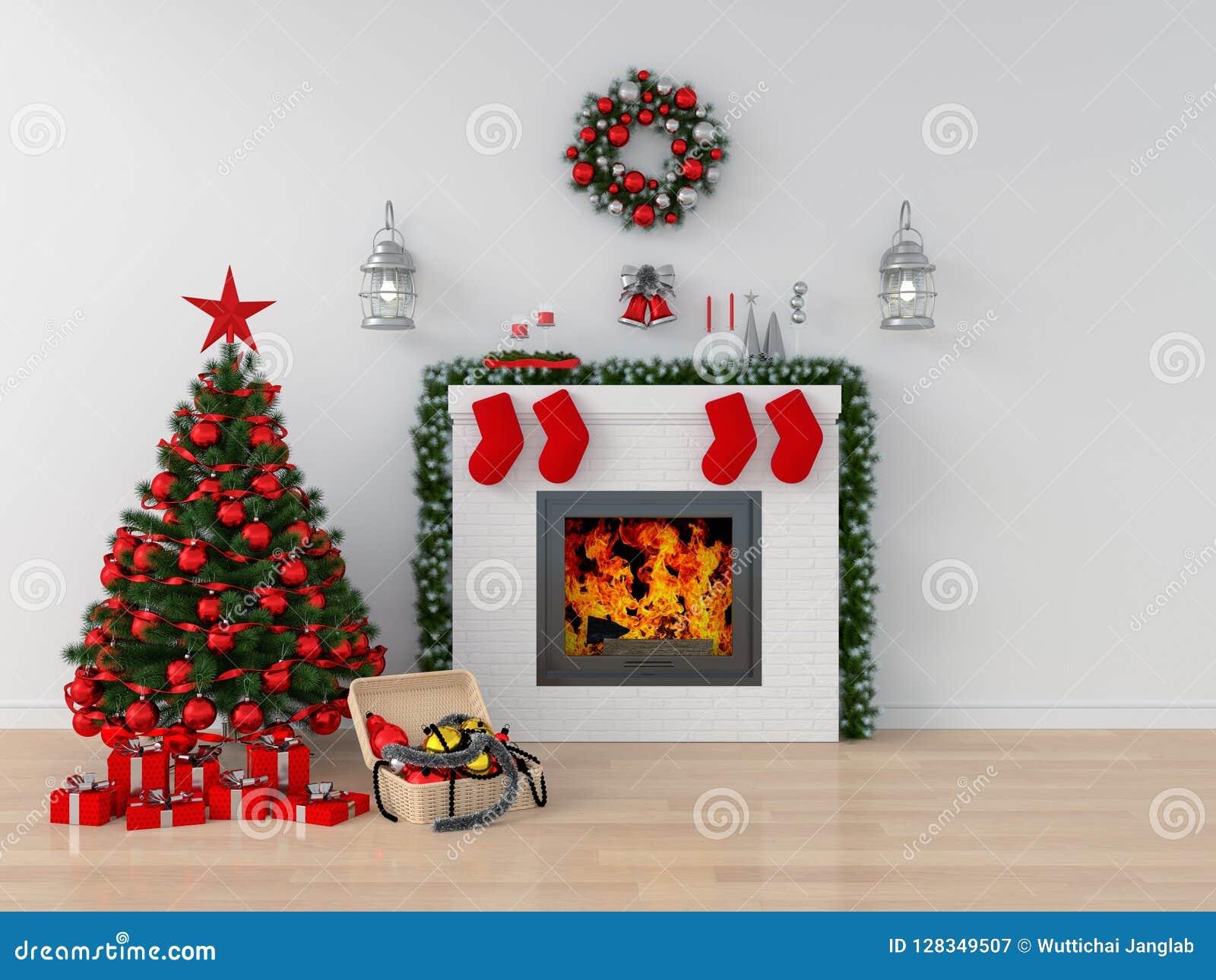 Árvore de Natal na sala branca para o modelo, rendição 3D