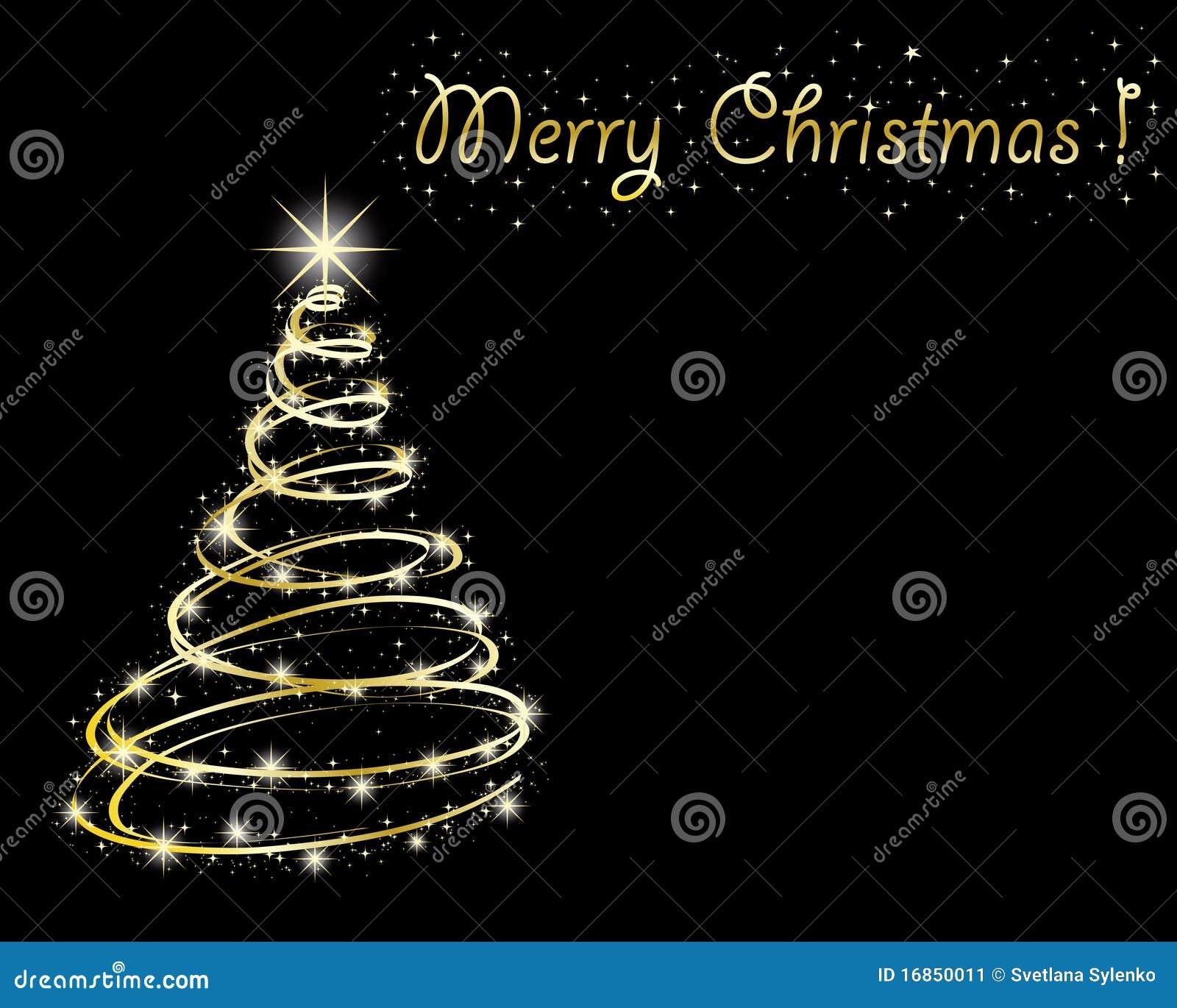 Árvore de Natal no fundo preto.