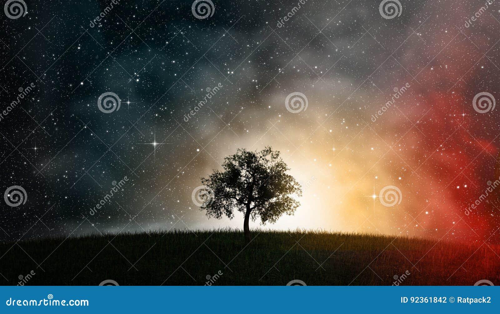 Ilustração Gratis Espaço Todos Os Universo Cosmos: Árvore De Vida Na Frente Do Cosmos Do Céu Noturno Foto De
