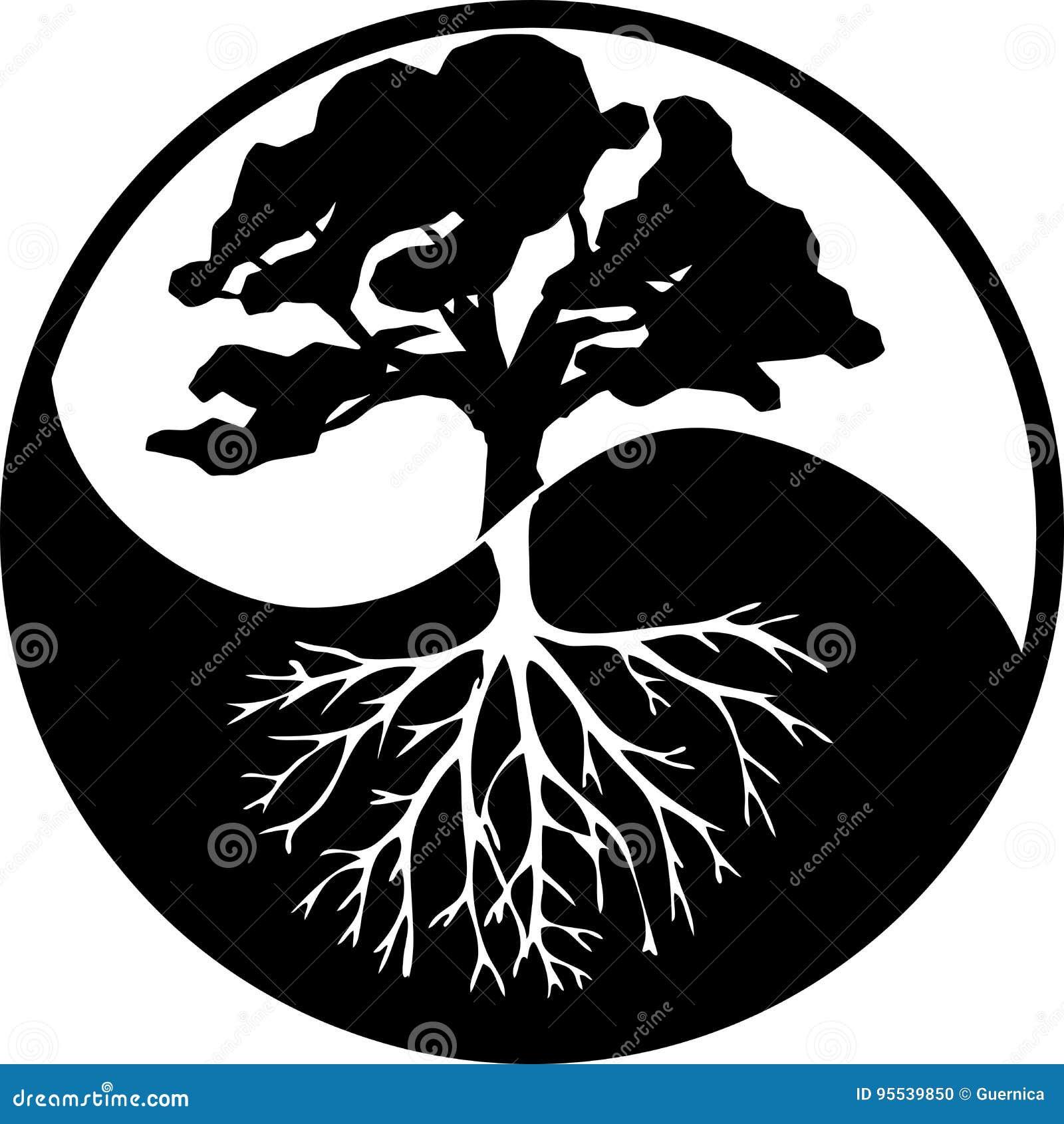 Árvore de Yin yang ao contrário preto e branco