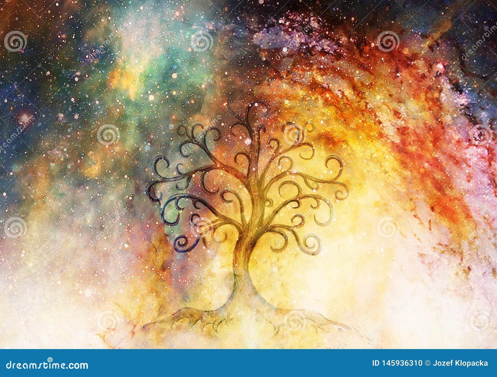 Árvore do símbolo da vida no fundo estruturada e do espaço, flor do teste padrão da vida, yggdrasil