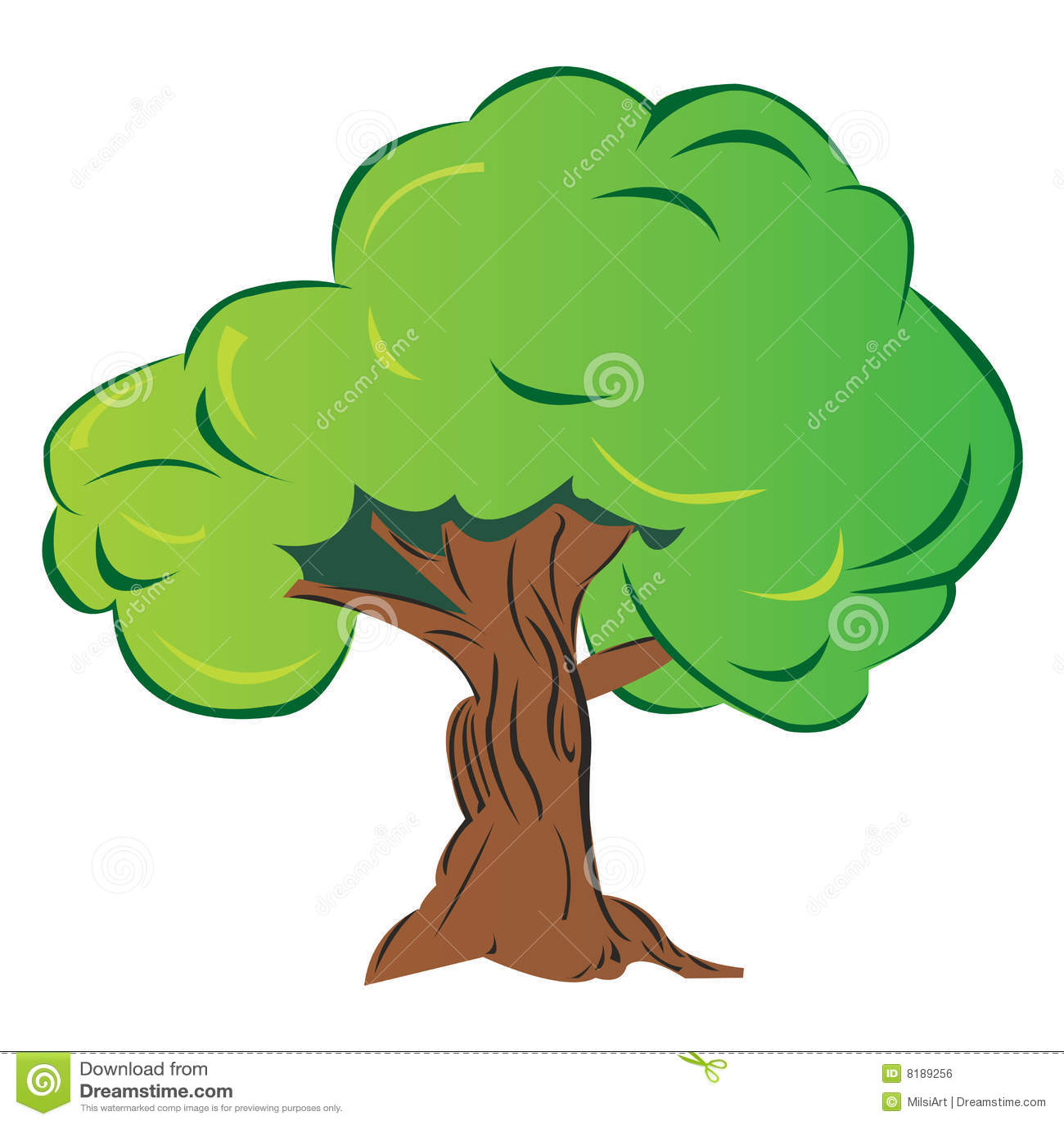 árvore Verde Grande Dos Desenhos Animados Isolada No Branco