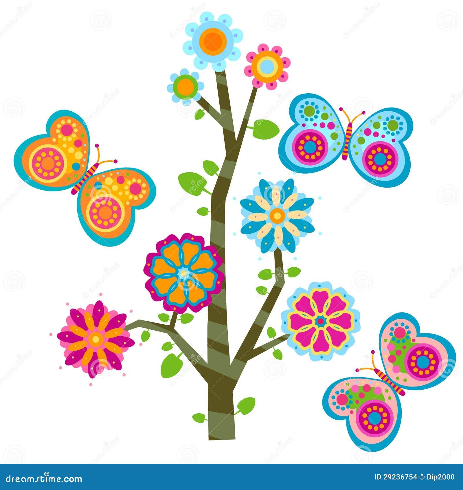 Download Árvore e borboletas ilustração do vetor. Ilustração de flor - 29236754