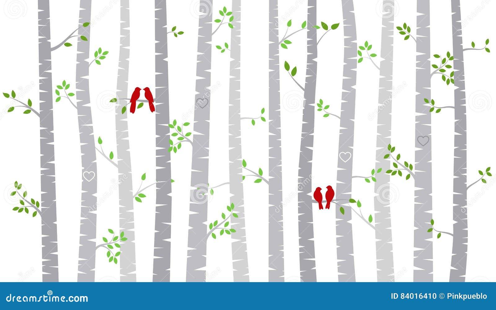 Árvore ou Aspen Silhouettes de vidoeiro do dia do ` s do Valentim com periquitos