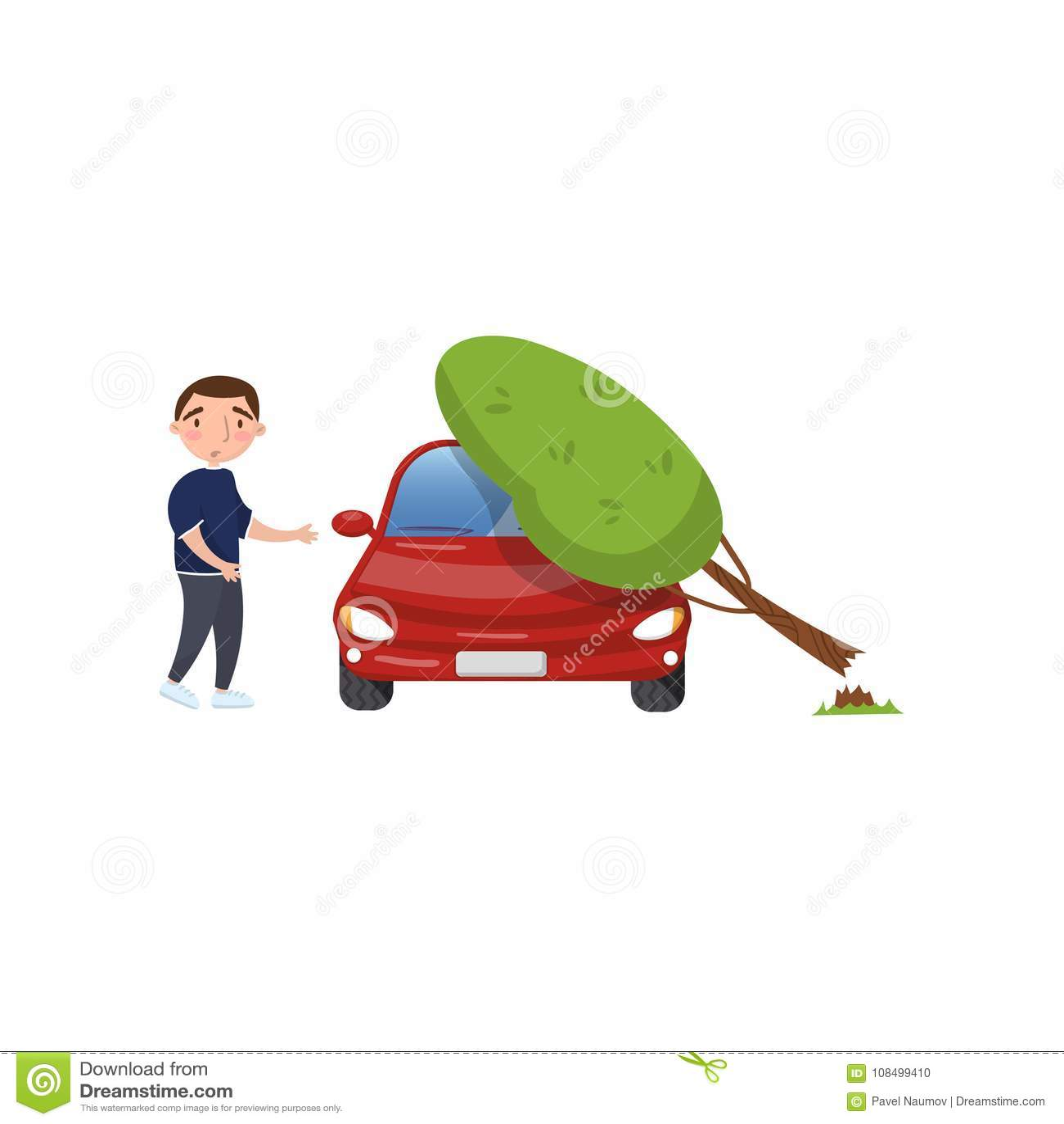 Árvore Que Cai No Veículo, Sentimento Do Homem Chocado
