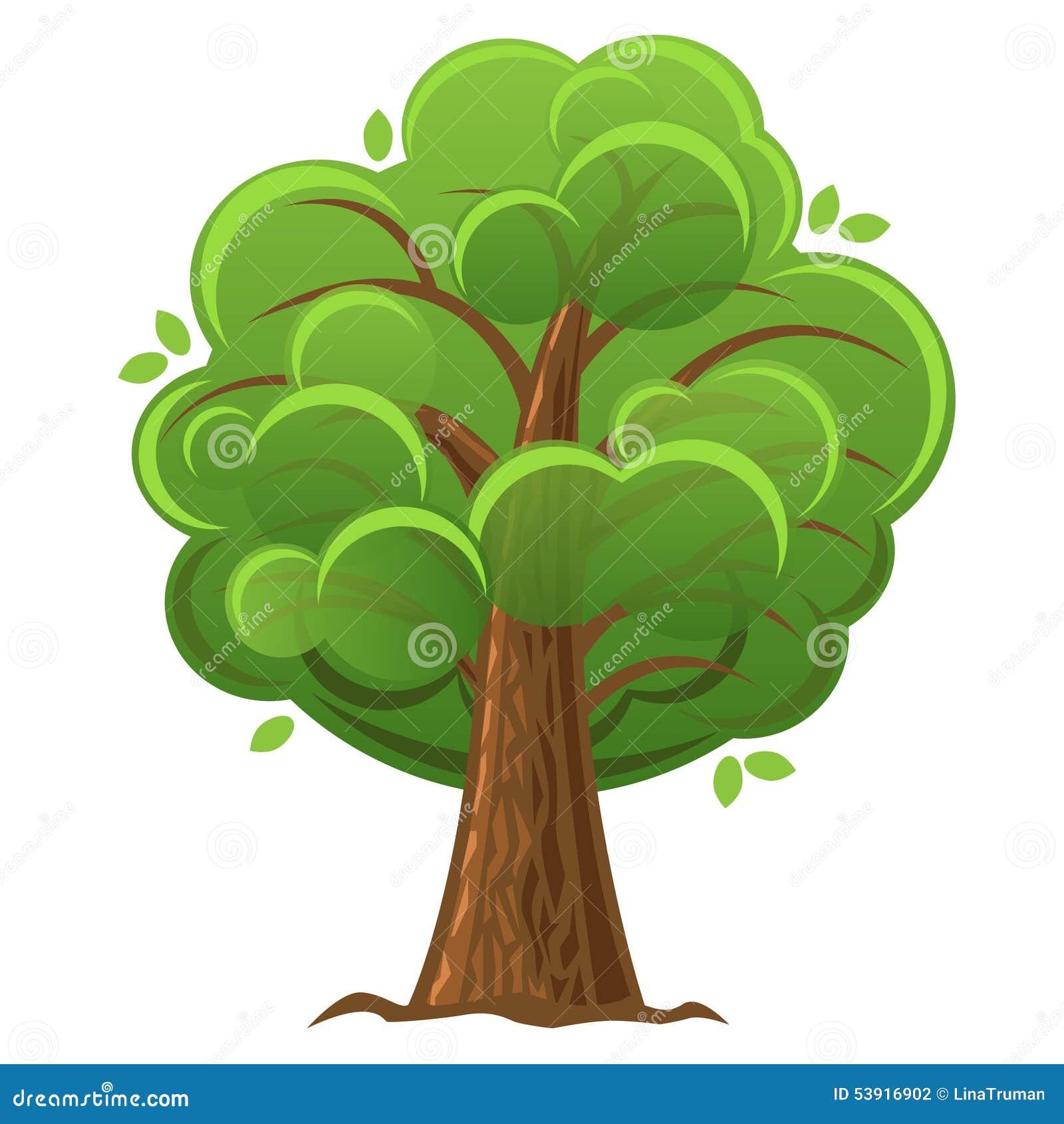 Arvore Verde Dos Desenhos Animados Ilustracao Do Vetor