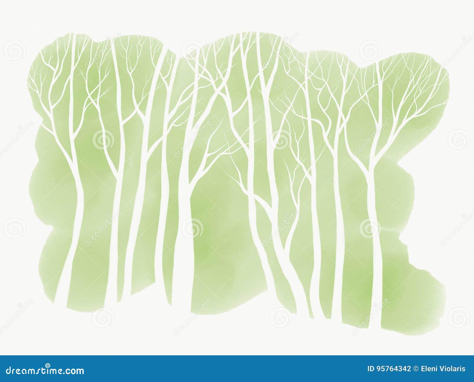 Árvores brancas simples no fundo verde do Watercolour