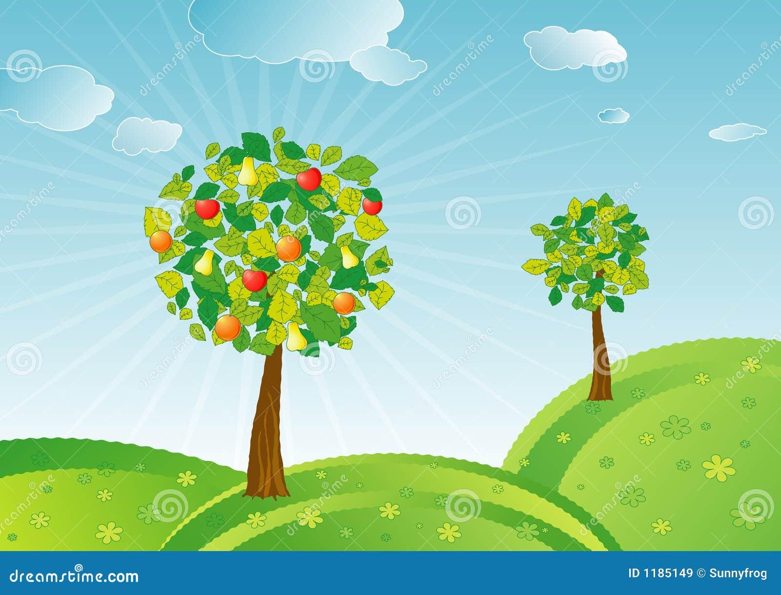 Árvores de fruta da mola, vetor