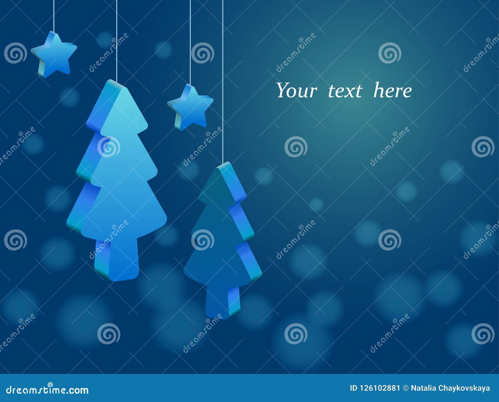 Árvores de Natal tridimensionais e estrelas que penduram nas cordas, bokeh azul do fundo, lugar para o texto
