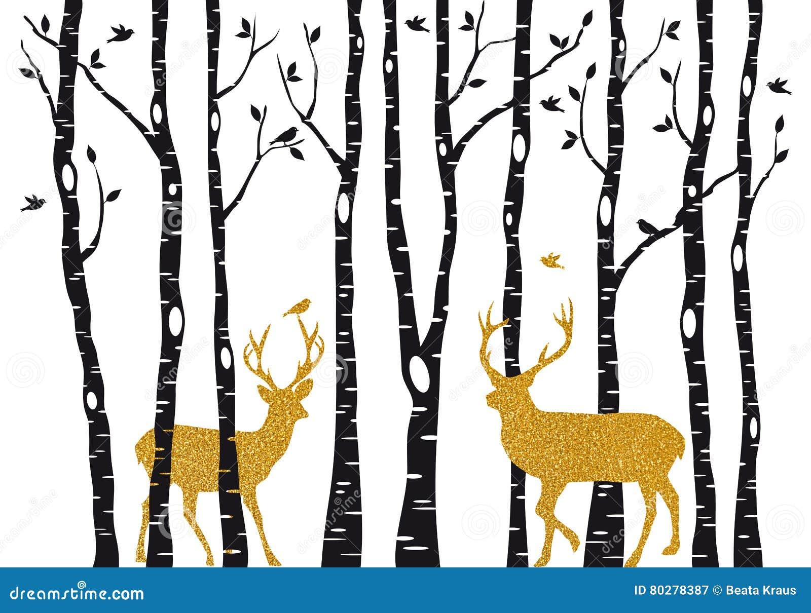 Árvores de vidoeiro com a rena do Natal do ouro, vetor