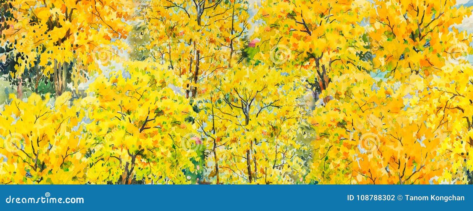 Árvores do outono Paisagem da aquarela da pintura