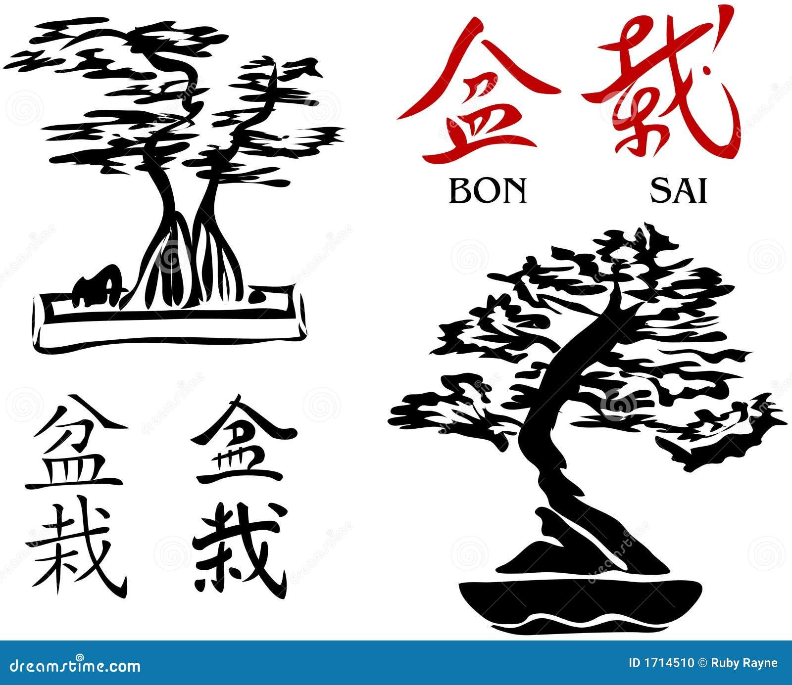 Árvores dos bonsais & caráteres de Kanji 2 [vetor]