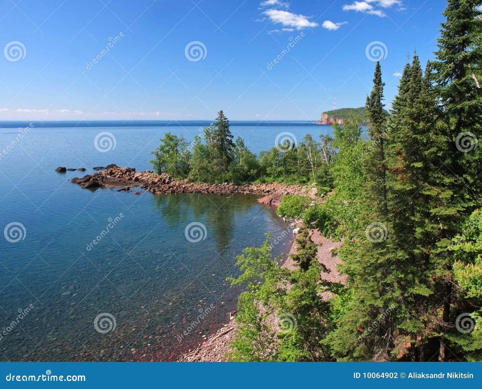 Árvores no superior de lago