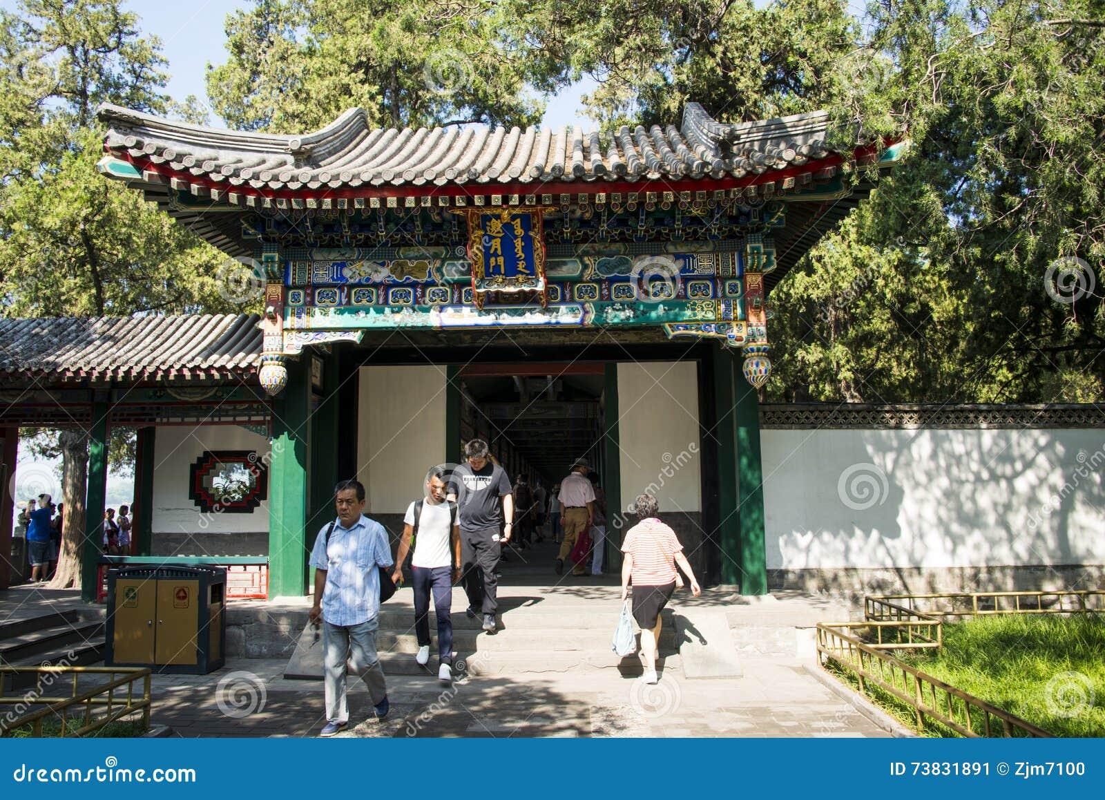 Ásia China, Pequim, o palácio de verão, arquitetura de ŒClassical do ¼ do landscapeï do verão, pavilhão da porta