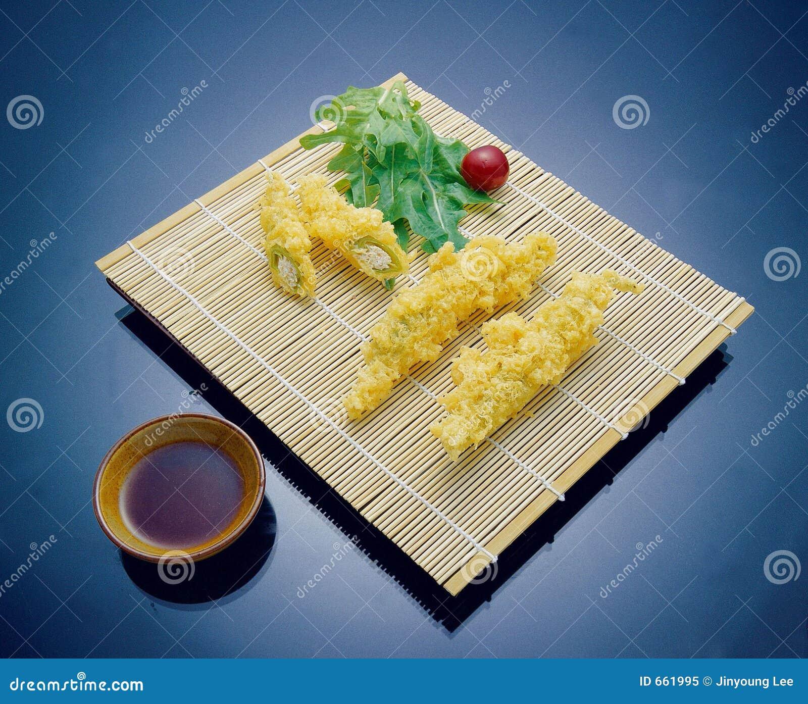 Ásia, Coreia, alimento, cultura, esteira, fritada, molho de soja, molho, dentro, luz, sombra, close-up, retângulo,