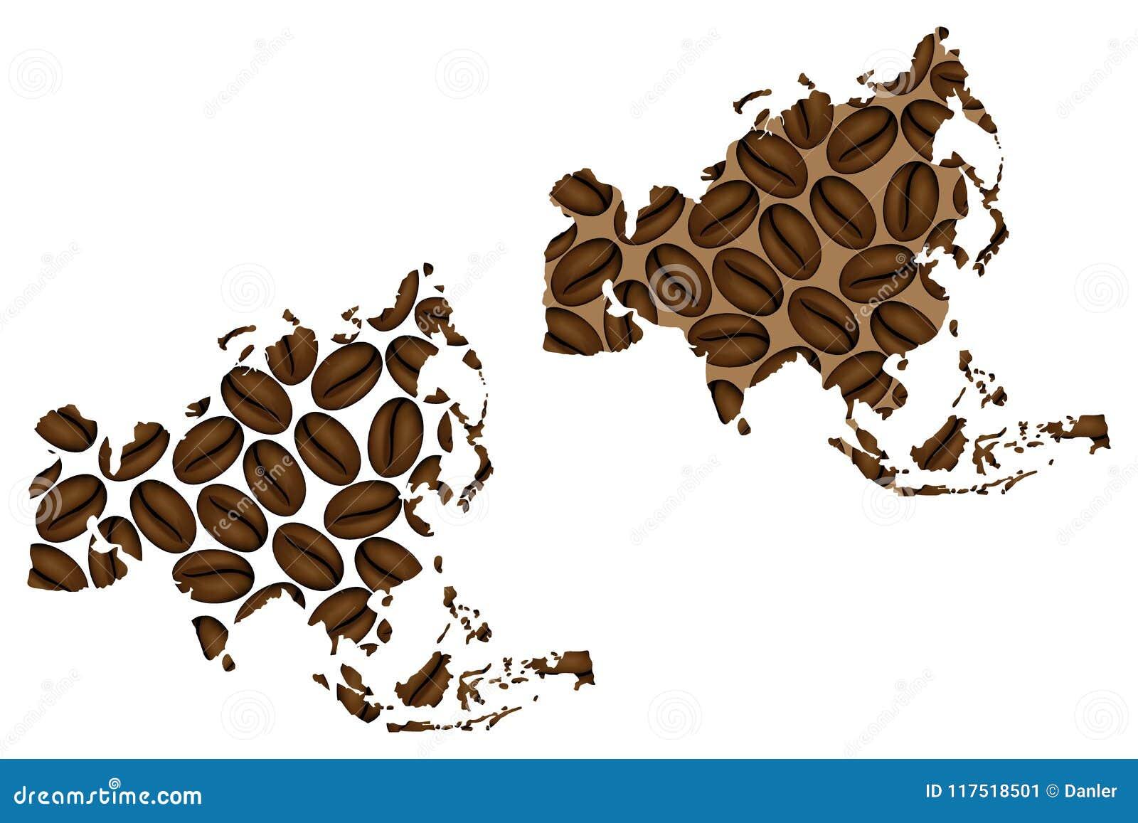 Ásia - mapa do feijão de café