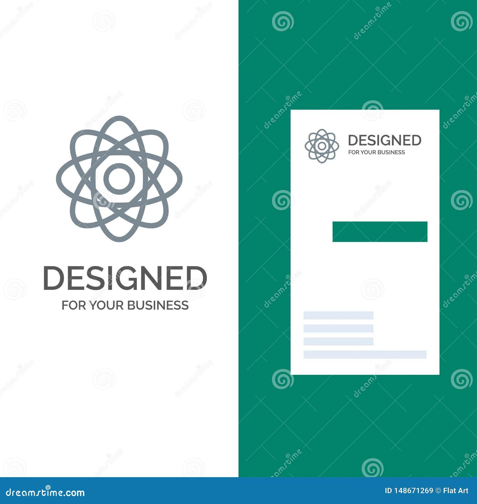 Átomo, bioquímica, química, laboratorio Grey Logo Design y plantilla de la tarjeta de visita