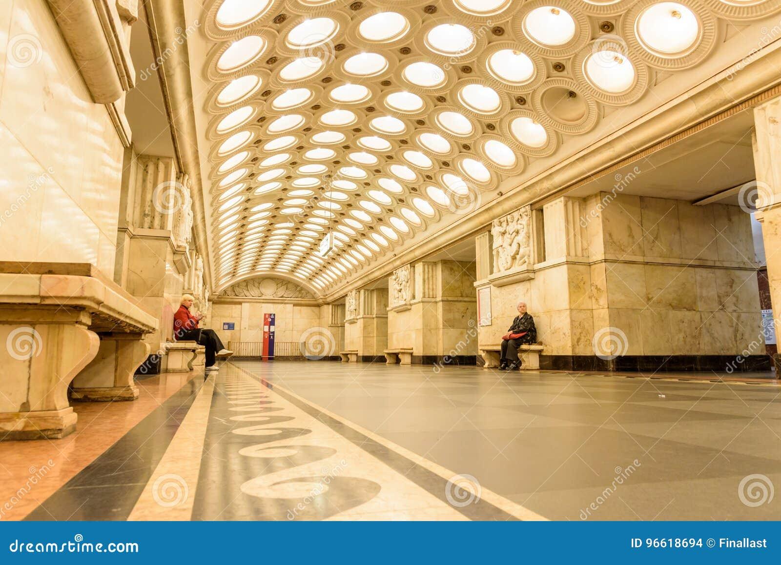 """€ de Moscou, Rússia """"9 de julho de 2017: Interior de Elektrozavodskaya"""