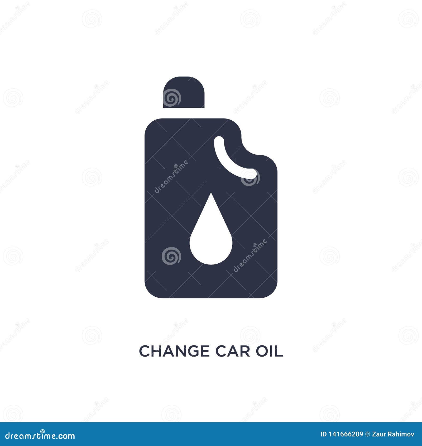 Änderungsauto-Ölikone auf weißem Hintergrund Einfache Elementillustration von mechanicons Konzept