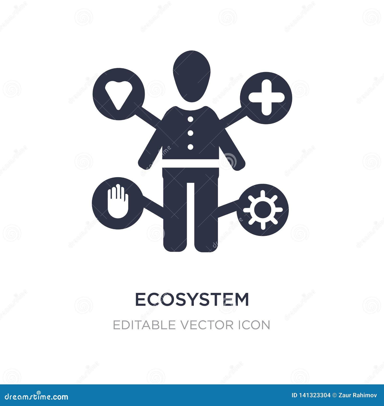 Ökosystemikone auf weißem Hintergrund Einfache Elementillustration vom Leutekonzept