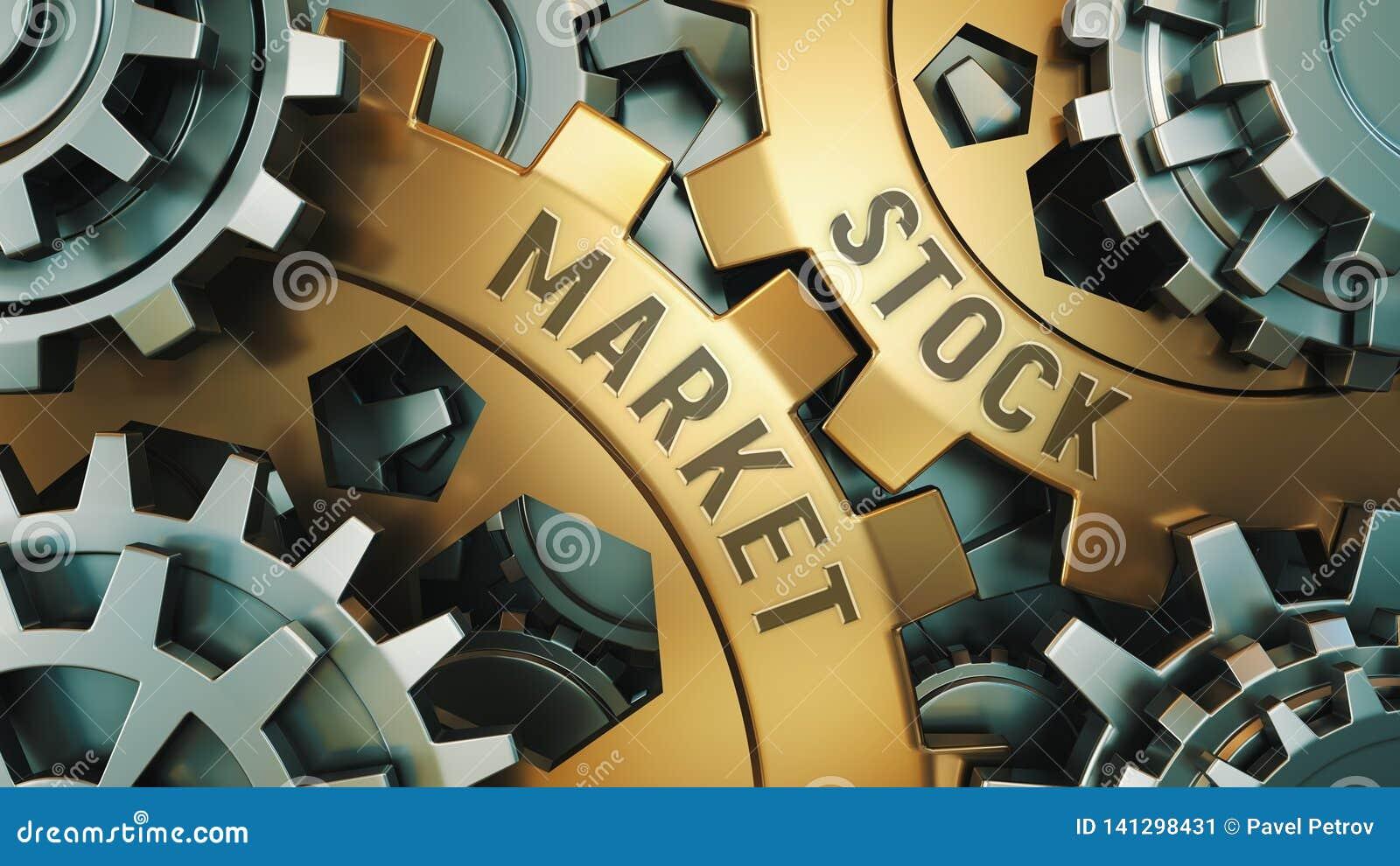 两个金黄钝齿轮特写镜头视图有词的:股票市场,企业概念 齿轮机构 3d例证