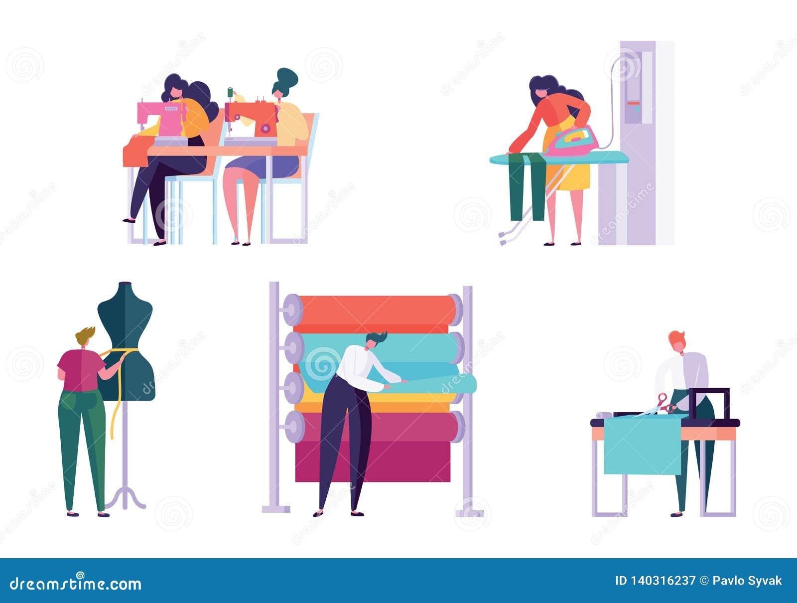 主要缝合的衣裳字符人集合妇女